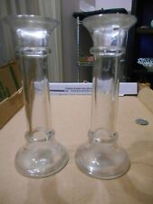 "Vintage Pair Of 7"" Clear Glass Candle Holders"