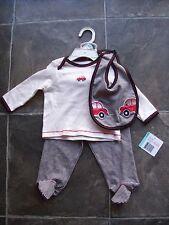 Baby Boy's Little Me Cotton Knit Top Pants & Bib Set Size 00