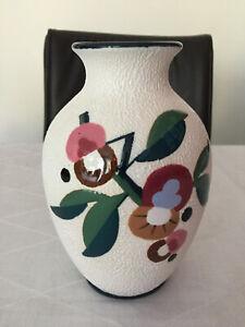 Turn Teplitz Amphora Polychrome Keramik Vase florales Motiv orig. Art Déco 1930