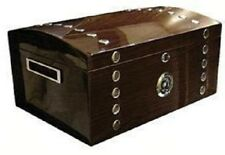 KINGS CHEST 150 ~ Lacquer Studded Walnut Chest w/Tray & Polished Hardware 150ct.