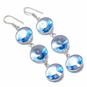 """Swiss Blue Topaz Gemstone Handmade 925 Sterling Silver Jewelry Earring 3.03 """""""