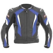 Blousons bleues en cuir coude pour motocyclette