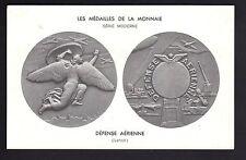 MEDAILLES sur carte postale les médailles de la monnaie DEFENSE AERIENNE Lenoir