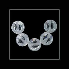 10 Cubic Zirconia Flat Round Coin Beads 6mm Clear #64949