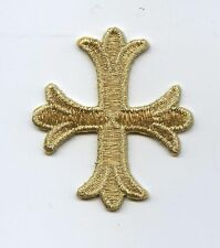 Gold Patonce Cross Fleury/Fleur De Lis - Iron on Applique/Embroidered Patch