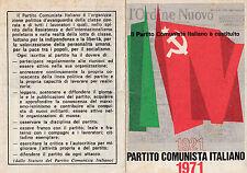 TESSERA P.C.I. PARTITO COMUNISTA ITALIANO FEDERAZIONE DI SAVONA BOLLI 1971 9-76B