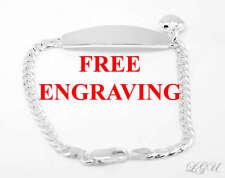 STERLING SILVER HEART ID BRACELET 7 INCH FREE ENGRAVING PERSONALIZATION