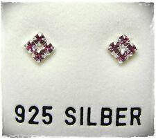 NEU 925 Silber 4mm OHRSTECKER 2mm SWAROVSKI STEINE rose/rosa OHRRINGE