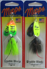 2 - MEPPS Aglia Double Blade Spinners - 5/16 oz. - Firetiger & Chartreuse/Black