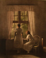 Peter Ilsted: Interior with two girls at the window. Mezzotint in colours