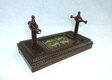 Ausgefallene Kartenpresse um 1880 Frankreich Schweiz. Palisanderholz Glasperlen