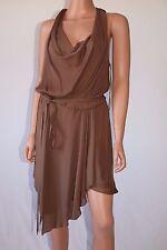 Haute Hippie Brown Low-Cut Sleeveless Asymmetrical Hem Dress With Belt