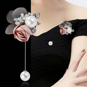Crystal Pearl Brooch Flower Lapel Enamel Pin Banquet Barrette Clip Women Wedding