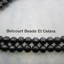 50 - Black Magnetic Hematite Round Bicone 8mm Beads  Unique Shape 1 Strand
