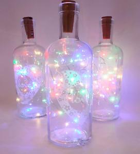 "LED LIGHT UP GLASS ""LOVE"" BOTTLES ASSORTED LED COLOUR LIGHTS Party Wedding Home"