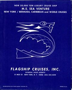 1970 Flagship Cruises SEA VENTURE Pre-Maiden Deck Plans w/ Interior Renderings