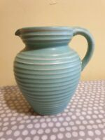Vintage Lovatts Windsor Green Ribbed Stoneware Jug. c1950's