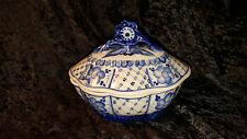 Vintage Russian Gzhel Porcelain Sugar Bowls 2 Pcs