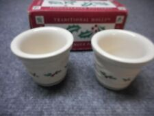 Nib 2 Longaberger 36064 Traditional Holly Berry Christmas Candle Votive Holders