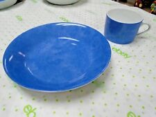 """Philippe Deshoulieres Limoges Bowl & Cup """"Aquarius Blue"""" Breakfast Set(s)"""