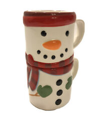 New ListingHallmark Christmas Holiday Snowman Stackable Set of 2 Soup Coffee Cups Mugs