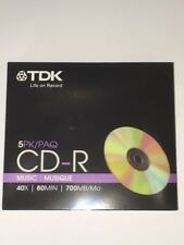 TDK MUSIC CD-R 40X 80MIN 700MB 5 PACK WITH SLIM CASES NEW FREE SHIPPING