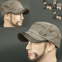 Cadet Box YNP BROWN khaki Army Military CAP HAT Distressed Vintage Look Fashion