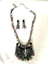 "Ditty Using Beads from Broken Jewelry Colorful 21"" Necklace Earring Set Scrap"