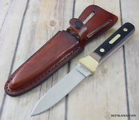 7.75 INCH SCHRADE FIXED BLADE BOOT KNIFE SINGLE EDGE WITH LEATHER SHEATH