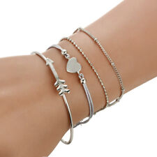 Adjustable Women Jewelry Multilayer Simple Bangle Crystal Heart Arrow Bracelets