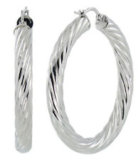 """S.Michael Designs Stainless Steel 1 3/4"""" Inch Twisted Cable Hoop Earrings"""