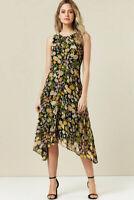 WALLIS Petite Black Floral Print Hanky Hem Lined Midi Dress