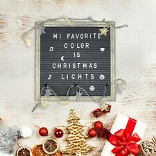12x12 Felt Letter Board, Rustic Wood Frame, 320 Black&White Changeable