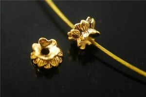 50pcs Golden Metal Beads Loose Spacer Jewelry Making 5.5x9mm Charms Findings