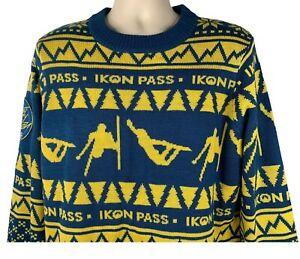 ikon Pass Sweater L Blue Yellow Snow Skiing Boarding Sleigh Every Season Winter
