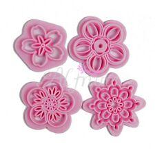 4Pcs Flower Stamp Plastic Cutter Fondant Cake Cookie Decorating Shape TAB