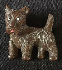 Vintage Terrier Dog Pin / Brooch Articulated Acrylic Puppy
