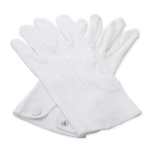 100% Cotton White Gloves Cadet Waiter Army Butler Brass