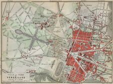 VERSAILLES. Château, ville & parc plan. Yvelines carte. BAEDEKER 1910 old map