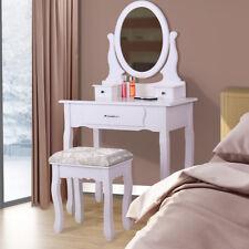 Wood White Vanity Makeup Dressing Table Set Drawer Mirror