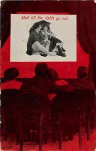 POSTCARD COMIC - CINEMA - COURTING COUPLE - WAIT TILL THE LIGHTS GO OUT