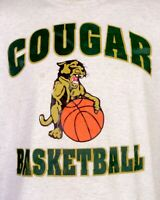 vtg 80s 90s Russell Athletic Cougar Basketball T-Shirt Heather Gray sz XL