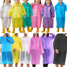 Adult Raincoat Transparent Waterproof Plastic Reusable Rain Poncho Hood Kids Men