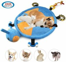 Blue|Yellow Pearl Cotton 2-In-1 Dog Bed Mat Toy with Perfect Round Turtle Shape