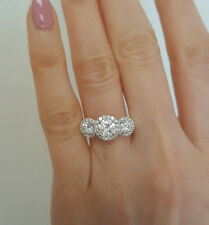 2.04CTW Three stone Round Forever One Moissasnite Diamond Engagement Ring R256