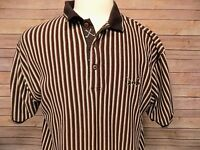 Vintage Mens IZOD Cotton Polo Shirt Golf Clubs Short Sleeve Striped Size L