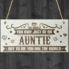 Auntie You Are The World Wooden Hanging Plaque Love Gift Sign Friendship Present