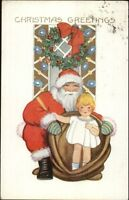 Christmas - Santa Claus w/ Little Girl in Toy Sack c1910 Postcard