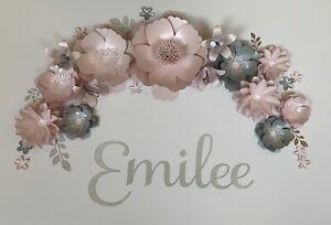 Blush Pink Silver Grey 3D Paper Flower Set Wall Decor Backdrop Nursery Bedroom