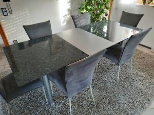 Hochwertiger Esszimmertisch Edelstahl/Granit ausziehbar